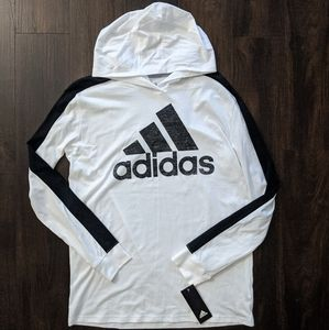 Adidas Boys Logo-Print Long Sleeved Hooded T-Shirt